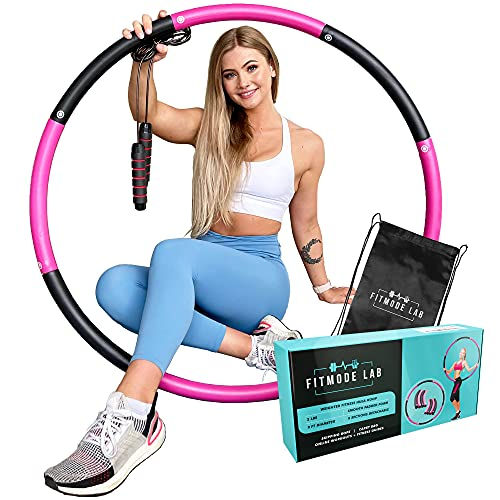 Weighted Hula Hoops for Adults by FITMODE LAB - Weight Adjustable Weighted Hoola Hoops with Jump Rope and Carry Bag - Sturdy Material and Soft Padding Ideal for Exercise and Weight Loss
