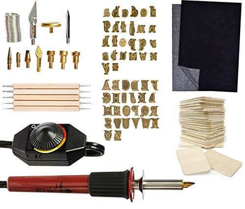 Walnut Hollow Creative Versa Tool, 11 Wood Burning Points, Hotstamps Lowercase & Uppercase Alphabet Branding Set, Pixiss Carbon Transfer Paper, 5x Stylus Tool Set for Wood Tracing, 20x Wood Rectangles