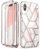 i-Blason Funda iPhone XS 360 Grados Carcasa [Cosmo] Antigolpes Case Brillante con Protector de Pantalla Integrado para iPhone XS 5.8 Pulgadas Mármol