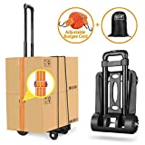 Folding Hand Truck Heavy Duty 155 lbs Loading Capacity 4 Wheel Solid Construction Compact and Lightweight Utility Cart for Luggage/Personal/Travel/Auto/Moving & Office Use Portable Fold Up Hand Cart