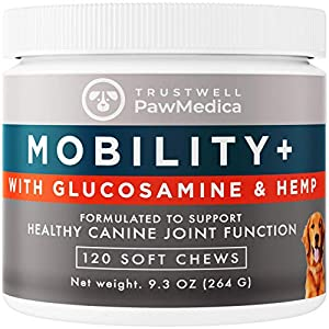 PawMedica Glucosamine for Dogs, Hip & Joint Care Chews for Dogs, Joint Support for Dog Joint Supplements with Hemp Mobility for Dogs, Senior Dog Joint Supplement Large Breed - 120 Dog Hemp Chews