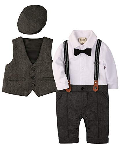 Zoerea 3tlg Baby Jungen Bekleidungssets Strampler + Weste + Hut Fliege Krawatte Anzug Gentleman Festliche Taufe Hochzeit Langarm Baby Kleikind- Gr. Etikette 90 (ca.12-20 monate), Grau 013