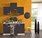 idealShopping Singelküche mit Elektrogeräten Faro in anthrazit 150 cm breit