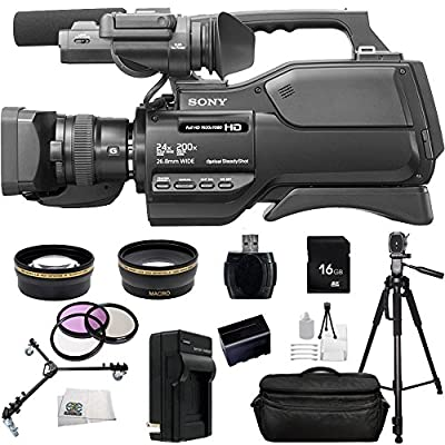 Sony HXR-MC2500 HXRMC2500 Shoulder Mount AVCHD Camcorder with 3-Inch LCD (Black) with 16GB SSE Package Bundle Including: .43x Wide Angle & 2.2X Telephoto Lenses + More by SSE