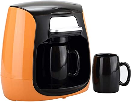 R-LKK Coffee Machine, Compact Coffee Machine,150ml Coffee Maker With Anti Drip Function,600w,Boil-Dry Protection,Anti-Drip Function,Reusable, Washable Filter,for espresso cooker (Color : Orange)