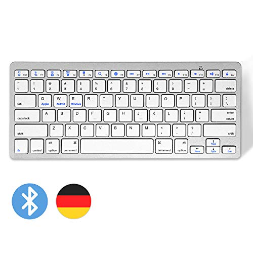 Drahtlose Tastatur Ultradünne Tastatur, Bluetooth-Tastatur Kompakte und leise drahtlose leichte Tastatur mit QWERTZ-Layout für die iPad Air/Pro/Mini/iPhone-Serie