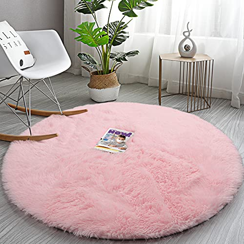Soft Round Area Rug for Girls Bedroom,4 ft Pink Circle Rug for Nursery Room, Fluffy Carpet for Kids Room, Shaggy Area Rug for Living Room, Room Decor for Teen Girls, Furry Shag Rug for Baby