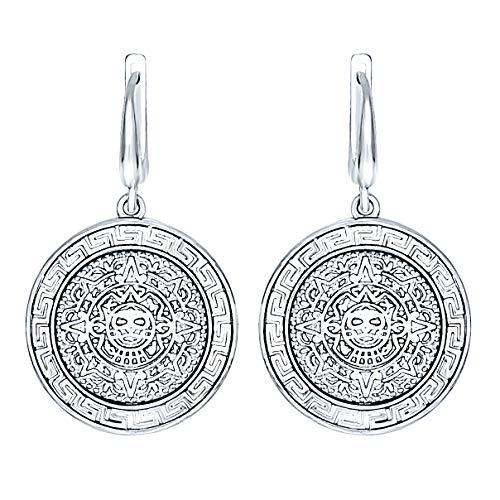 925 Sterling Silber Antikes Inka-Azteken-Maya-Kalender Schmuck große Medaillon Scheibe Ohrringe griechische Schlüssel Mäander Frauen