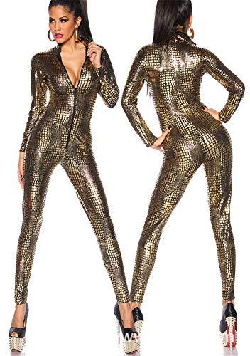 OOFAY2 Disfraz De Lady Cat Girl Sexy, Ropa De Club DS Club De Rayas De Piel De Serpiente, Mono Club Wetlook, Lencería Sexy De Fiesta,Oro,M