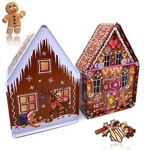 """Perfekto24 Zestaw 2 puszek na ciasteczka - puszki na ciasteczka 2-częściowy zestaw - puszki bożonarodzeniowe na wypieki i pierniki - zestaw puszek na ciastka w stylu """"Piernikowy domek"""" - puszka na ciastka Boże Narodzenie - pomysł na prezent na Boże Narodzenie"""