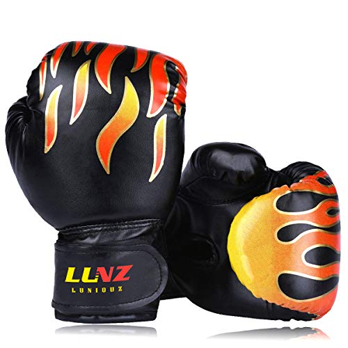 Luniquz Kids Boxing Gloves for Punching Bag Training, 4 OZ 6 OZ Fit 3 to 14 YR, Black