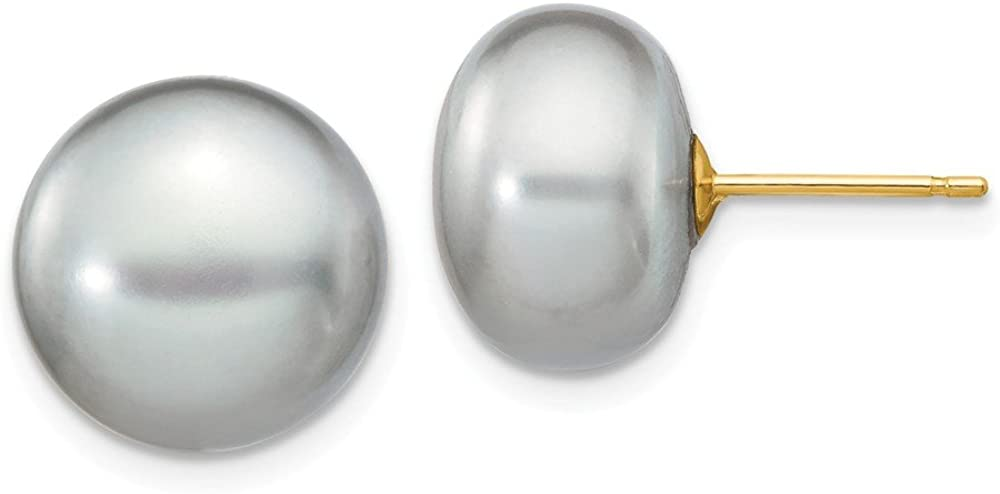 Solid 14k Yellow Gold 11-12mm Grey Button FW Cultured Pearl Stud Earrings