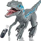 WDSWBEH Dinosaurios Juguetes - Velociraptor Blue, Dinosaurio Teledirigido Interactiv Robot Juguetes para Niños, Juguetes De Dinosaurios Jurásicos Populares, Rugido,Rociado,Deslizamiento,Carga USB