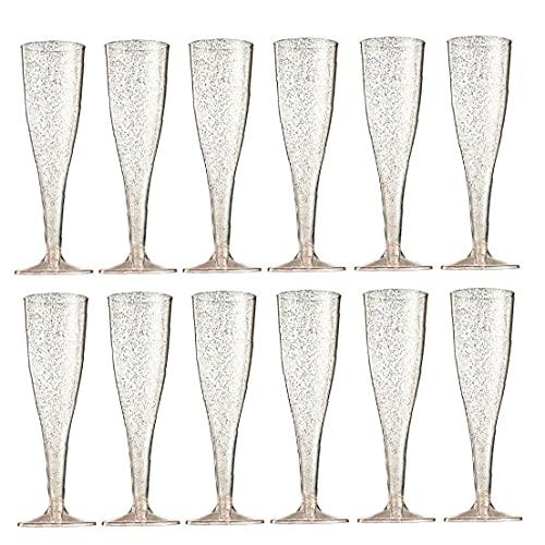 Hainice 12 pcs Champagne Flûts Verre jetable en Plastique Transparent en Plastique Coussin à vin Fournitures de Mariage en Poudre d'or Rose 6.5oz