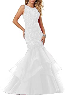 APXPF Women's Lace Applique Long Mermaid Tulle Prom Dress Evening Party Gown