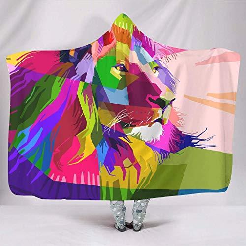 JONINOT Manta Siesta Felpa Sofás Hooded Rey León Arco Iris Arte Animal W102cmXL127cm Buen sueño