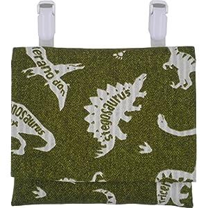移動ポケット 緑色×恐竜柄 男の子 どこでもポケット ポケットティッシュ付 ハンドメイド 日本製