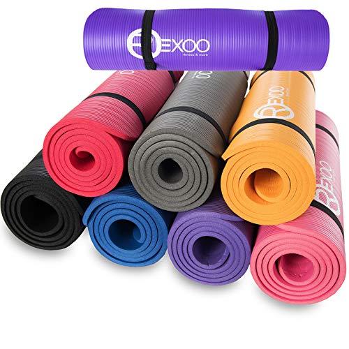 REXOO Esterilla Yoga Antideslizante Alfombrilla de Yoga Esterilla Pilates Esterilla Deporte, Fitness y Entrenamiento, con Correa de Hombro 183cm x 61cm 1,0cm, Color: Púrpura