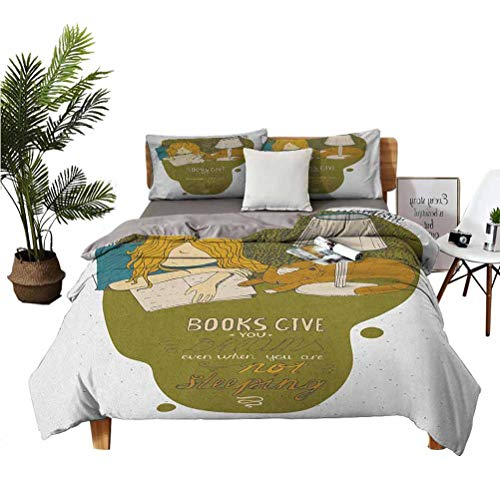 LANQIAO Queen Duvet Girl and Cat Sleeping on Book Cartoon Illustration with Quote Books Give You Dreams 89x89 inch