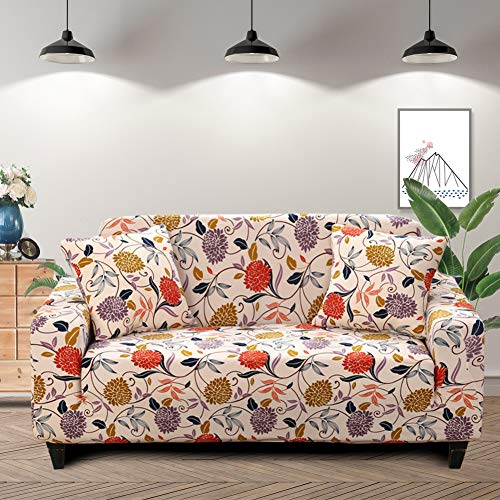 Lamberia Printed Sofa Cover Stretch Couch Cover Sofa Slipcovers for 3 Cushion Couch with Two Pillow Cases (Vine Flower, Sofa-3 Seater)