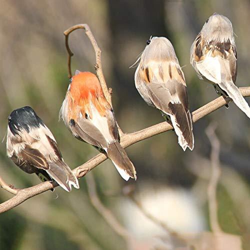 kgjsdf 12 künstliche Vögel, Bunte Kunstschaumvögel, zum Anklipsen, Weihnachtsbaum, Ornament, Kleiner Vogel, für Zuhause, draußen, Garten, Hochzeit, Dekoration