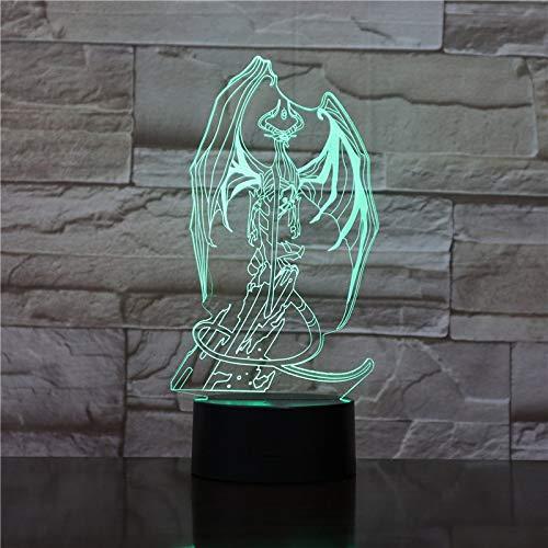 Monstruo 3D con ala Placa de acrílico Luz nocturna 3D Hermosa ilusión n Regalos