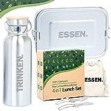Faleco® - NEU - Brotdose Edelstahl Lunchbox Set | Bento Box auslaufsicher brotbox Metall mit Trennwand 1200ml | Trinkflasche und Besteck | Vesperdose Brotbüchse | Plastikfrei für Kinder & Erwachsene