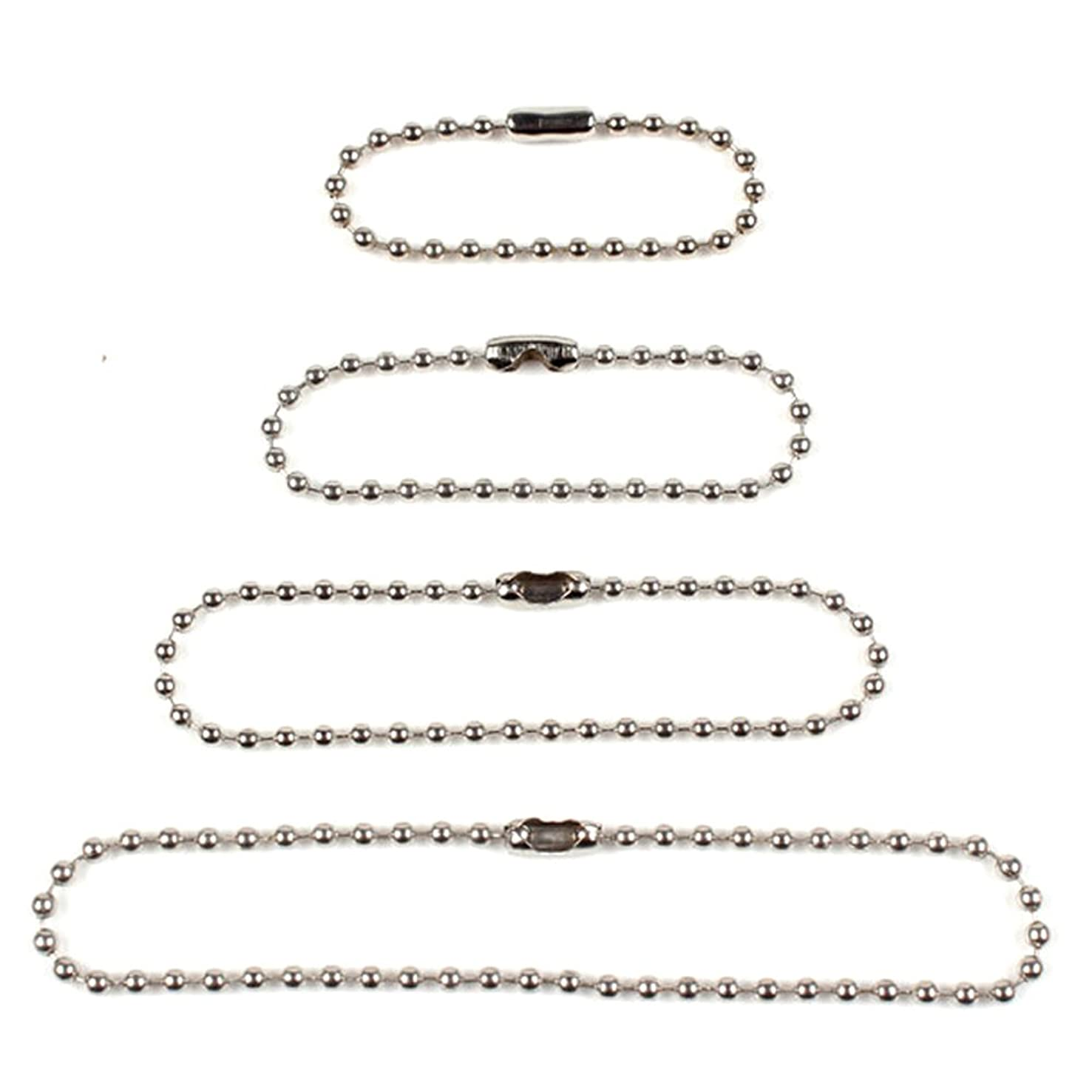 Ginooars Pack of 100 Bead Chains Bead Connector Clasp Ball Chains -25pcs Each Size 4 Different Size: 100mm/120mm/150mm/200mm