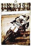 KUSTOM ART Cuadro de estilo vintage de carreras de moto Harley Davidson de colección, impresión sobre madera