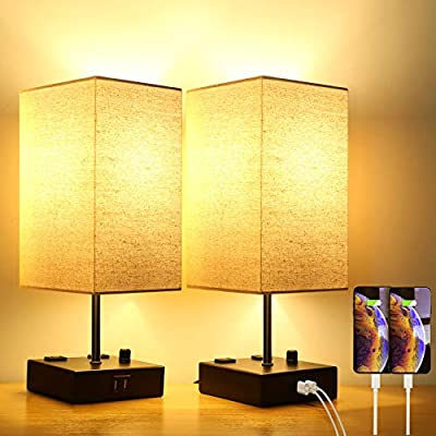 Upgraded Fully Dimmable USB Bedside Table Lamp Set of 2, Nightstand Table Lamps with 2 USB Charging Ports 2 AC Outlets, Square Fabric Shade Modern Desk Lamp Set for Bedroom Living Room, Bulbs Included