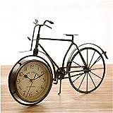 Reloj de escritorio Reloj de mesa Retro Arte clásico Bicicleta Estilo antiguo Elegante Decor de sala de estar Reloj de escritorio Péndulo Color bronce Reloj despertador Decor de escritorio para e