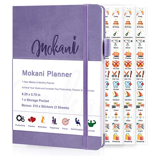 """Mokani Planner - Weekly & Monthly Life Planner with Leather Hardcover A5 - 8.27"""" x 5.83"""" - Time Management & Hit Your Goal - Organizer Notebook & Journal - Start Any Time + Stickers, Lavender"""
