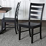 Walker Edison Furniture Modern Farmhouse Wood Kitchen Dining Chair, Set Of 2, Black