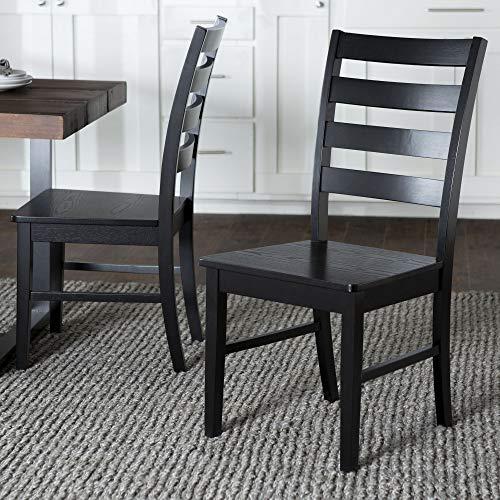 Walker Edison Furniture Modern Farmhouse Wood Kitchen Dining Chair, Set Of 2, Black