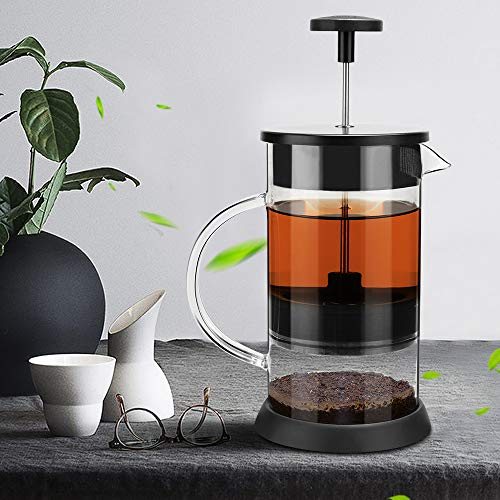 French Press Cafetera de Cristal con Filtro a presión, Sistema French Press, para café, Tetera, cafetera, 8 Tazas, 1 L