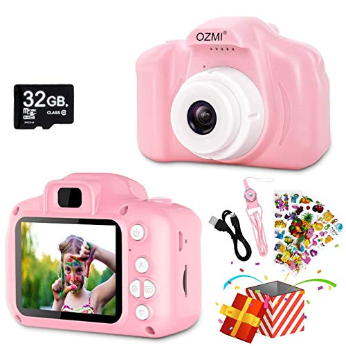 OZMI Upgrade Kids Selfie Camera, Christmas Birthday Gifts for Girls Age 3-12, Children Digital Cameras 1080P 2 Inch Toddler, Portable Toy for 3 4 5 6 7 8 9 10 Year Old Girls with 32GB SD Card (Pink)