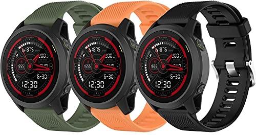 Classicase Correa de Reloj Compatible con Garmin Forerunner 745, Blando Silicona Narrow Delgada Deporte Reemplazo Pulsera (3-Pack H)