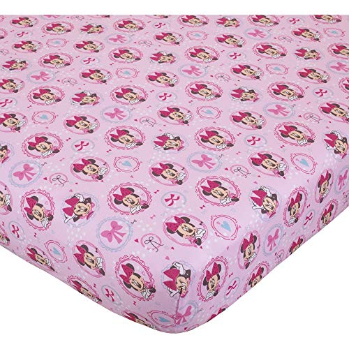 """Disney Baby """"Minnie Mouse Bows are Best"""" Baby Crib Sheet, 28"""" X 52"""", Fits Stand Size Crib Mattress"""