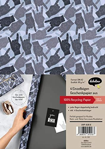 Geschenkpapier-Set: You Rock: 4x Einzelbögen + 4x Geschenkanhänger