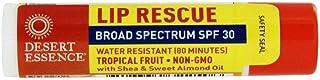 Desert Essence Lip Rescue - Tropical Fruit - .15 Ounce - Broad Spectrum SPF 30 - Water Resistant - Shea & Sweet Almond Oil...