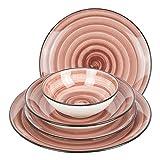 Geschirrset 24-teilig aus Porzellan für 6 Personen | Tiefe Suppenteller, Flache Essteller,...