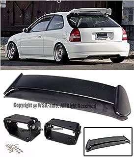 Extreme Online Store EOS Body Kit Rear Wing Spoiler with Black Adjustable Alex Tilt Brackets - for Honda Civic EK 96-00 3 Door Hatchback 1996 1997 1998 1999 2000