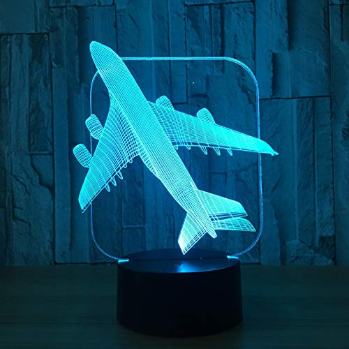 3D Led Optical Illusion Lamp Night Light Airplane Model 16 Colors Touch Switch USB Bedside Table Lamp with Bedroom Desk Decoration Lamp for Kids Christmas Birthday Gifts with Remote