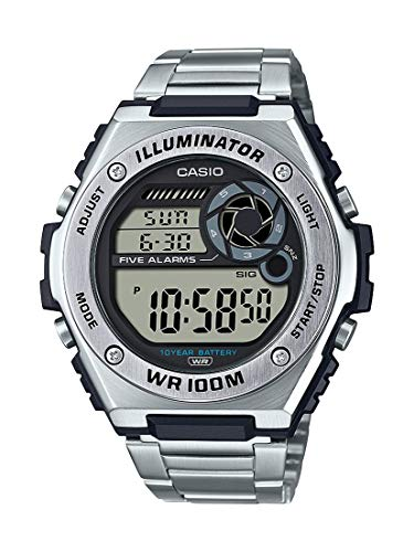 Casio Men's Heavy Duty Digital 10 Year Battery Quartz Stainless Steel Strap, Silver, 25.7 Casual Watch (Model: MWD-100HD-1AVCF)