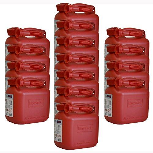 15er Set: 15x Benzinkanister 5 Liter in Rot mit UN-Zulassung Made in Germany