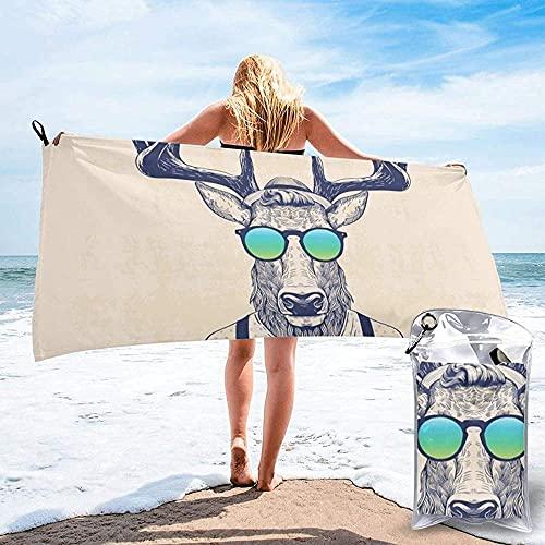 Toalla De Playa Toallas Baon,Toallas De Bao Ligeras De Microfibra con Estampado De Ciervos Disfrazados como Cool Hipster, Sper Absorbentes para Nios Y Adultos,70X140Cm (28X56 Pulgadas)
