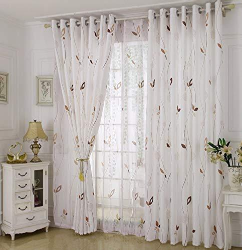 WBXZAL-Rideaux Les Tissus Finis Semi - ombragés Rideau Vie Rurale Moderne Salle Simple Chambre fenêtre Flottante,300,À