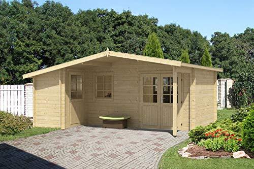Alpholz Gartenhaus Nordkapp-40 B aus Massiv-Holz | Gerätehaus mit 40 mm Wandstärke | Garten Holzhaus inklusive Montagematerial | Geräteschuppen Größe: 538 x 448 cm| Satteldach