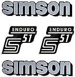 Unbekannt SET: Aufkleber Klebefolie SIMSON S51 Enduro Silber für Tank und Seitendeckel