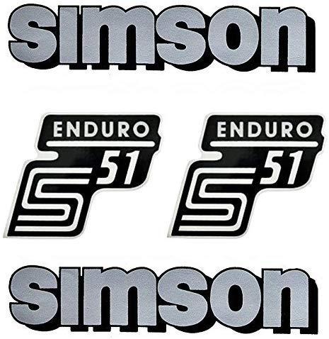 Unbekannt 4-teiliges Aufkleber Set Simson S51 Enduro silber/schwarz für Tank und Seitendeckel